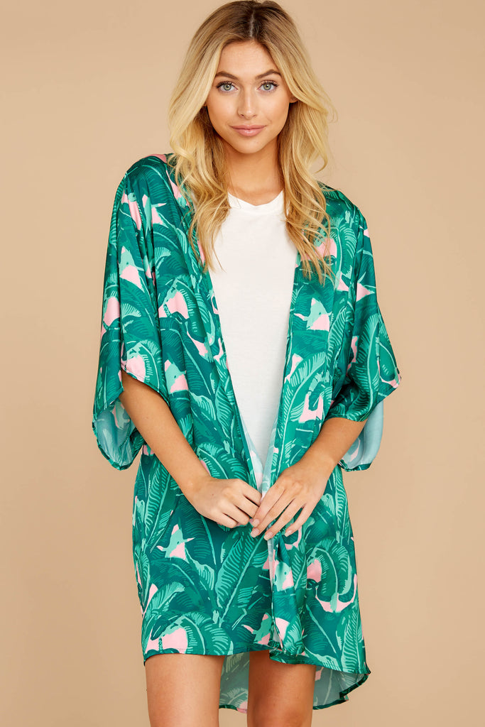1 You Made It Pink Palm Print Kimono at reddressboutique.com