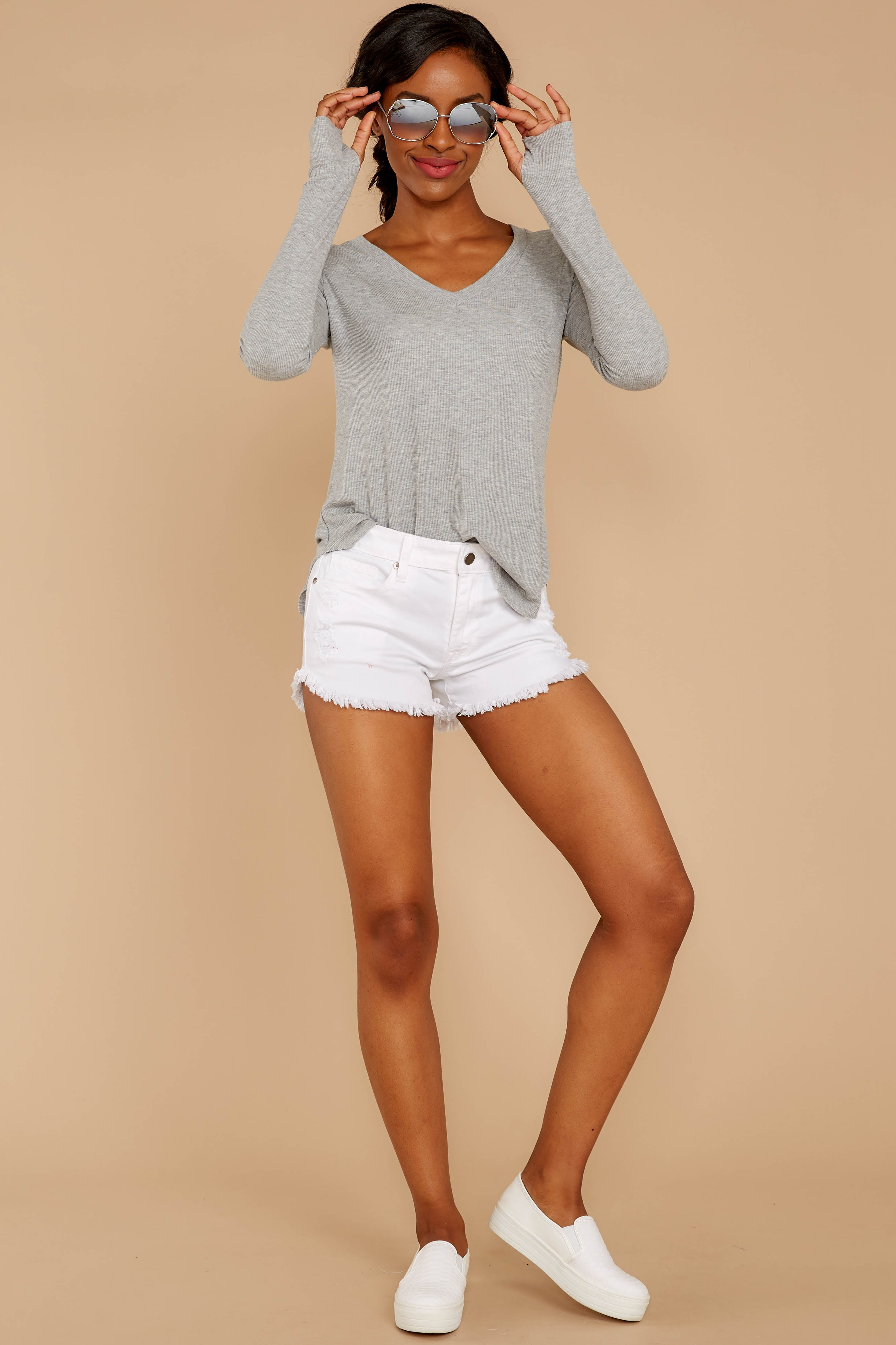 1 Casual For The Day Grey Top at reddressboutique.com