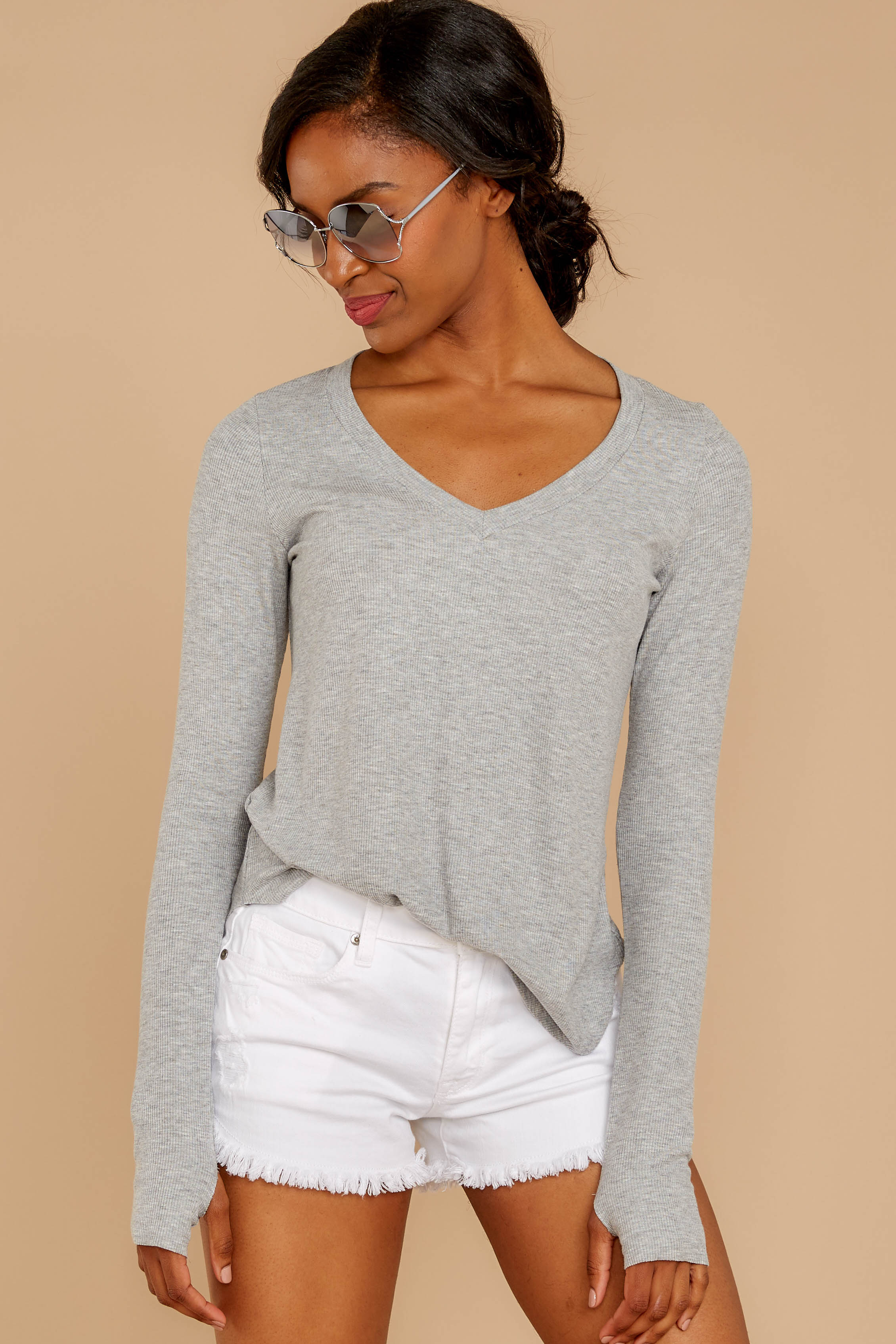 4 Casual For The Day Grey Top at reddressboutique.com