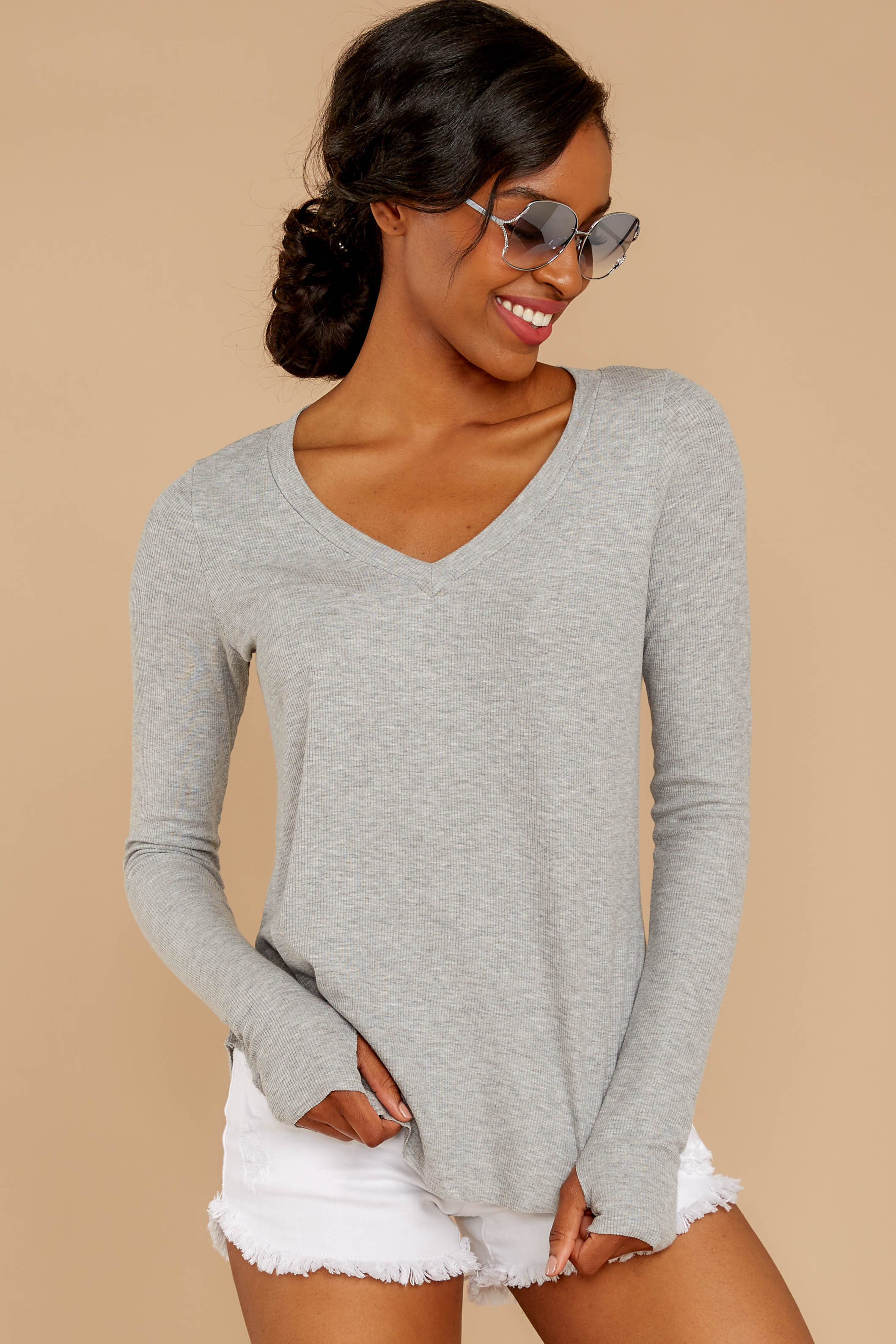 5 Casual For The Day Grey Top at reddressboutique.com