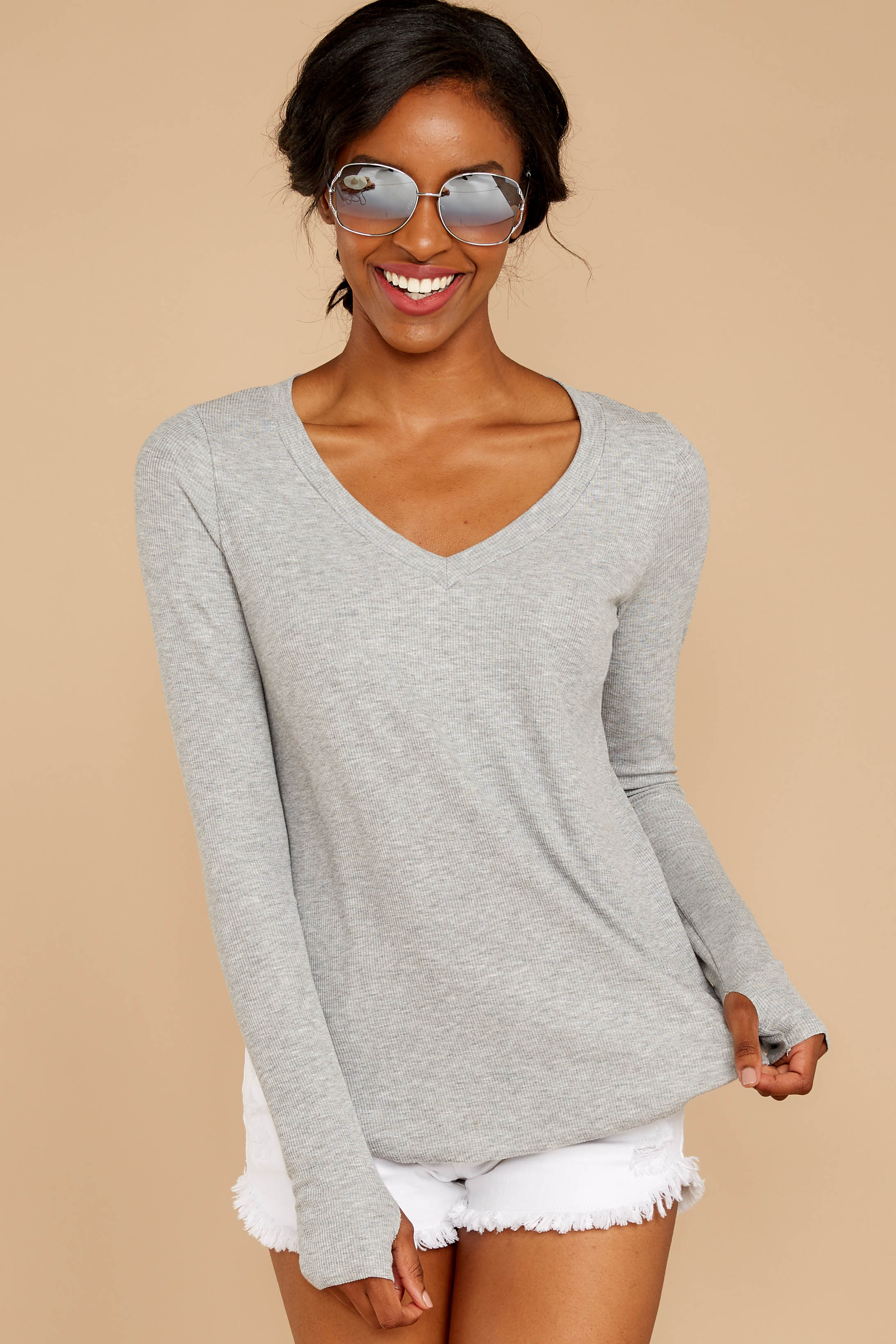 6 Casual For The Day Grey Top at reddressboutique.com
