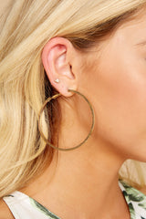 2 Around With You Gold Hoop Earrings at reddressboutique.com