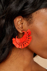 3 Plans For The Future Tomato Orange Earrings at reddressboutique.com