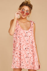 3 No More Trouble Pink Flamingo Print Dress at reddressboutique.com