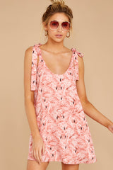 4 No More Trouble Pink Flamingo Print Dress at reddressboutique.com