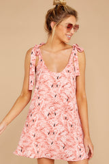 5 No More Trouble Pink Flamingo Print Dress at reddressboutique.com