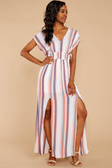 Gonna Lay Low Coral Multi Stripe Maxi Dress