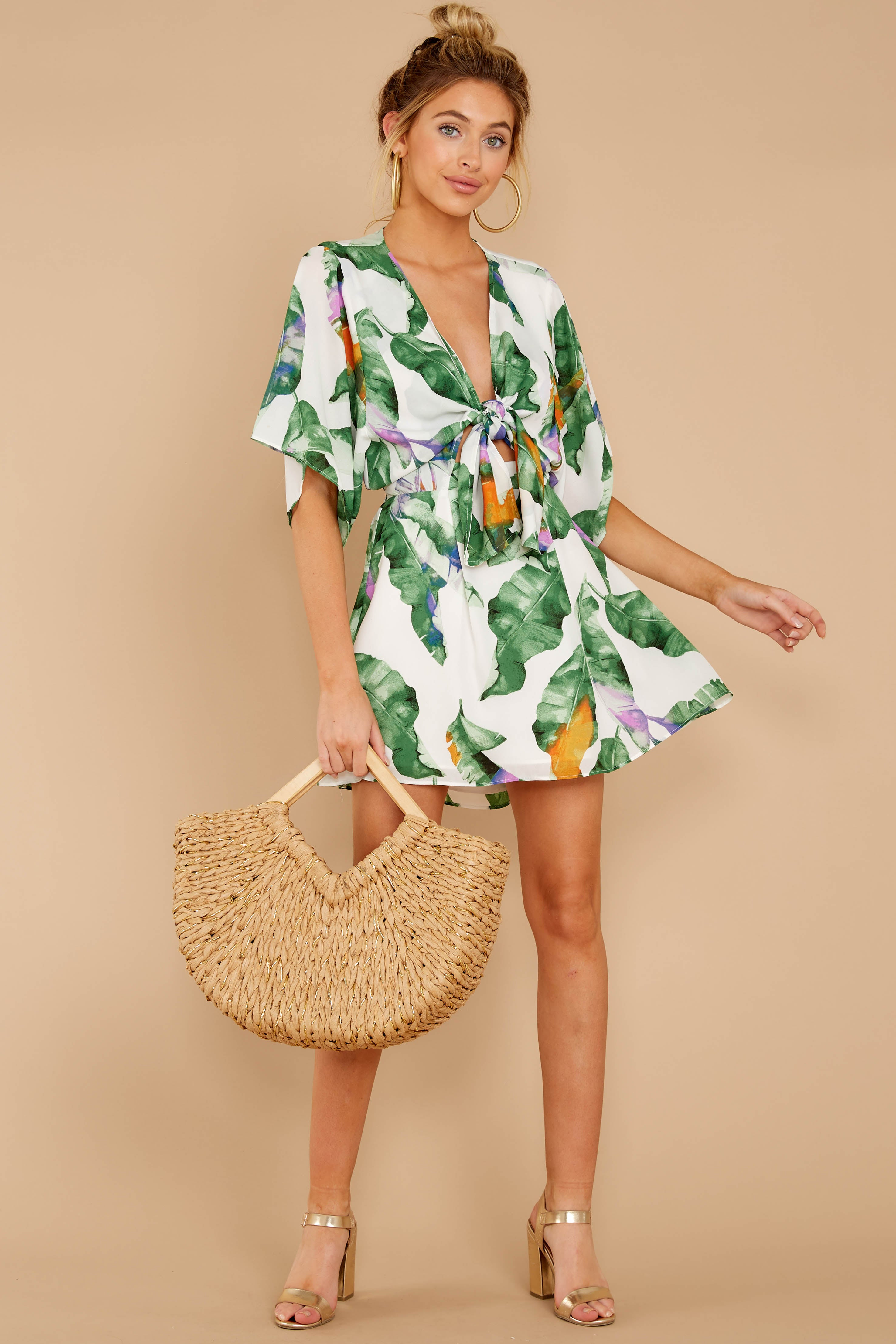 1 Start Of Vacay White And Green Print Dress at reddressboutique.com