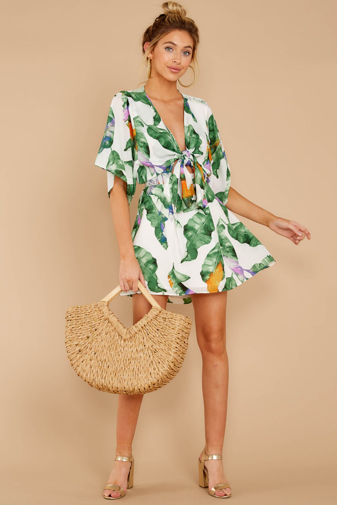 1 Follow Along With Me White And Green Palm Print Dress at reddressboutique.com