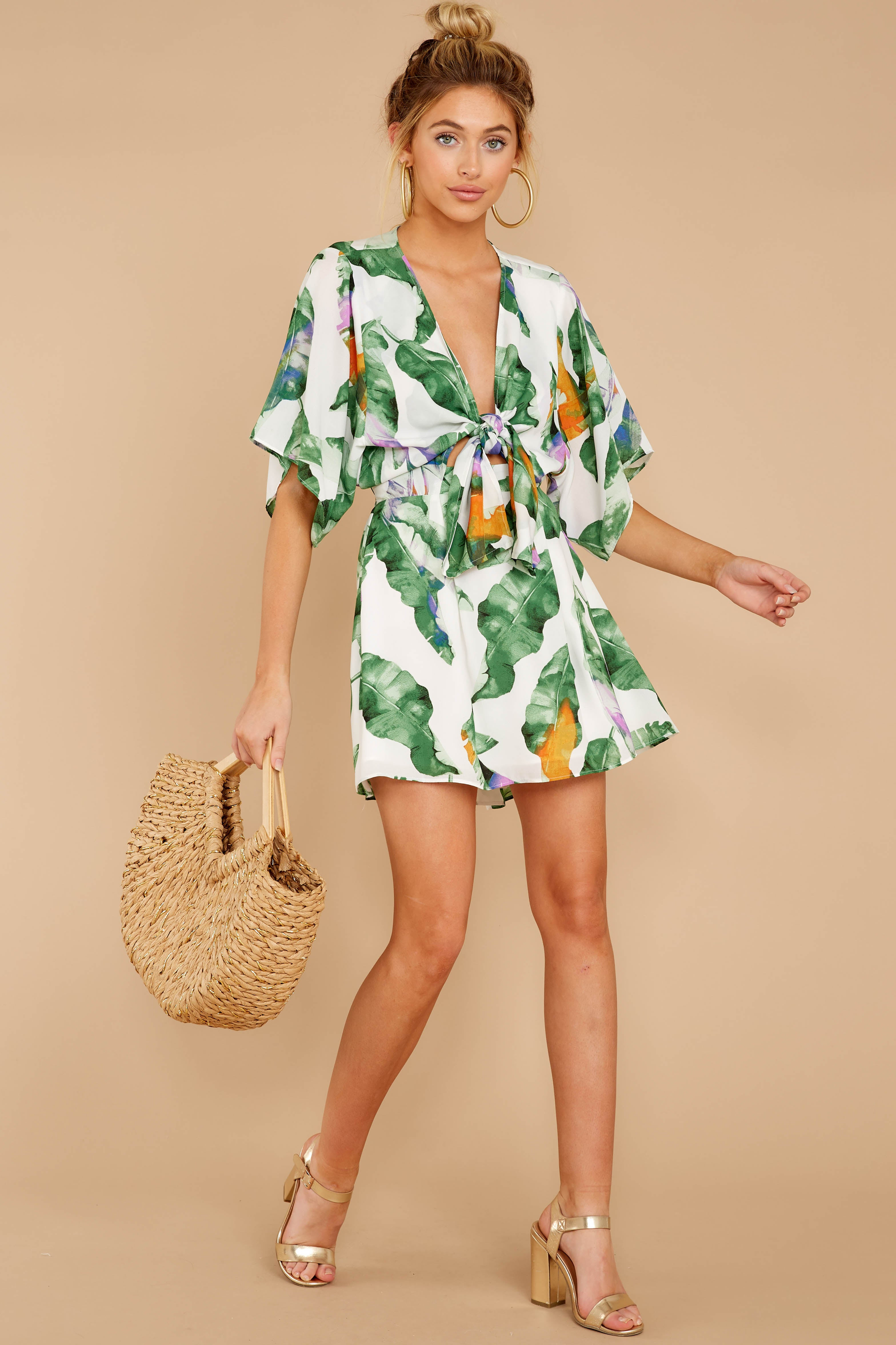 3 Start Of Vacay White And Green Print Dress at reddressboutique.com
