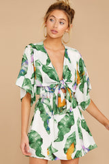 6 Start Of Vacay White And Green Print Dress at reddressboutique.com