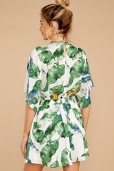 7 Start Of Vacay White And Green Print Dress at reddressboutique.com