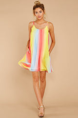 2 Follow Along With Me Sunshine Yellow Multi Dress at reddressboutique.com
