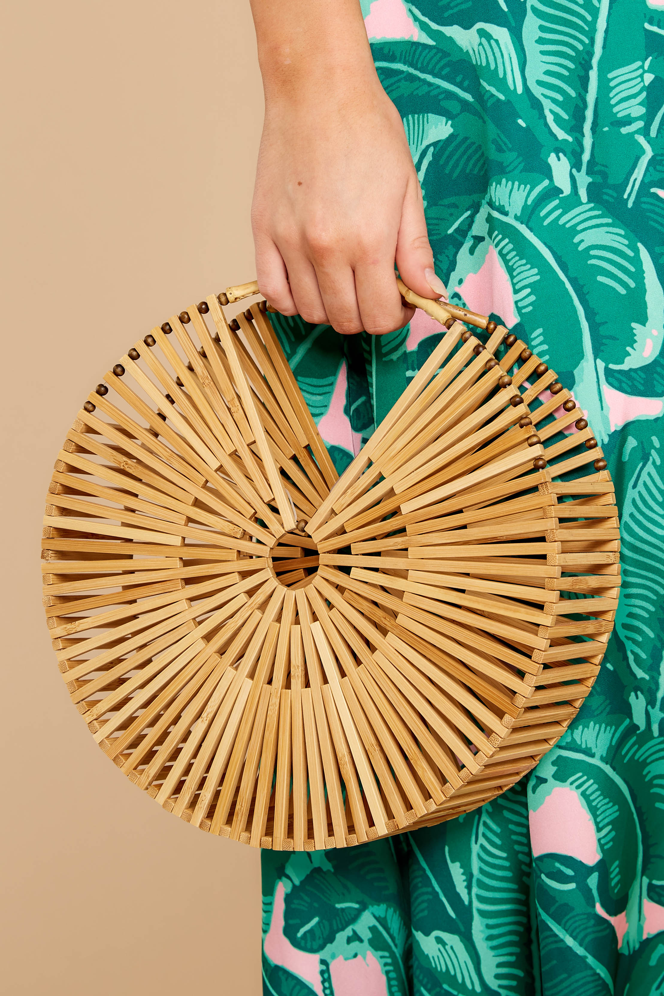 1 Lucky For You Light Brown Bamboo Round Bag at reddressboutique.com