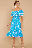 Striped Print Spring Off the Shoulder Elasticized Waistline PomPom Trim Polyester Midi Dress With Ruffles