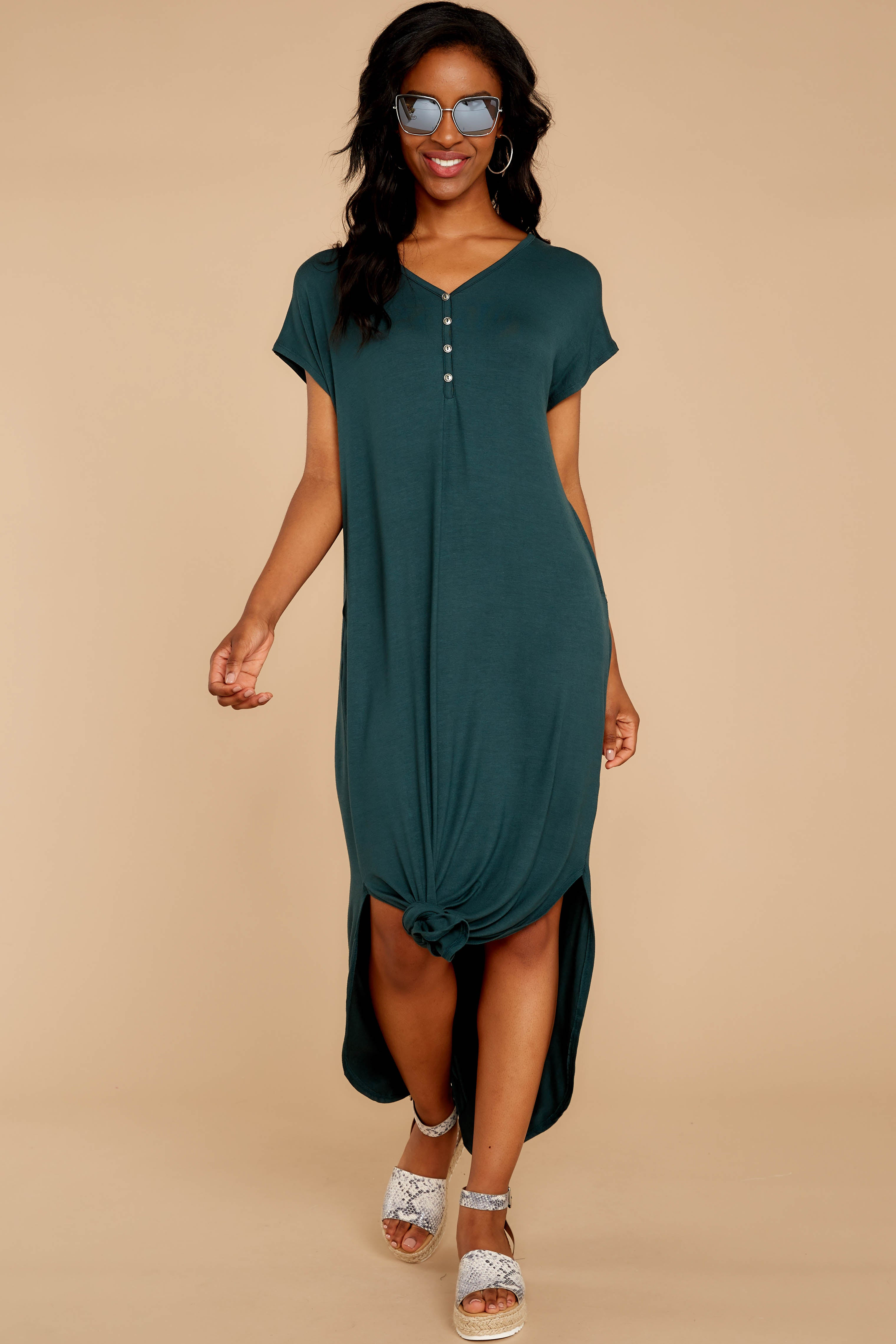 On The Down Low Evergreen Maxi Dress