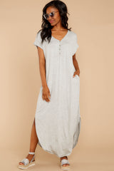 3 On The Down Low Light Grey Maxi Dress at reddressboutique.com