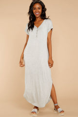 4 On The Down Low Light Grey Maxi Dress at reddressboutique.com