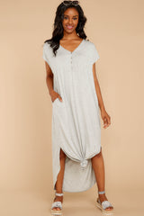 1 On The Down Low Light Grey Maxi Dress at reddressboutique.com