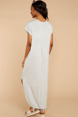 7 On The Down Low Light Grey Maxi Dress at reddressboutique.com