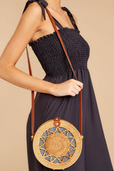 1 Chance Meeting Tan And Gingham Round Bag at reddressboutique.com