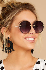 1 Obvious Glamour Black Fade Gold Sunglasses at reddressboutique.com