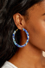 5 A Different Time Blue Multi Beaded Hoop Earrings at reddressboutique.com