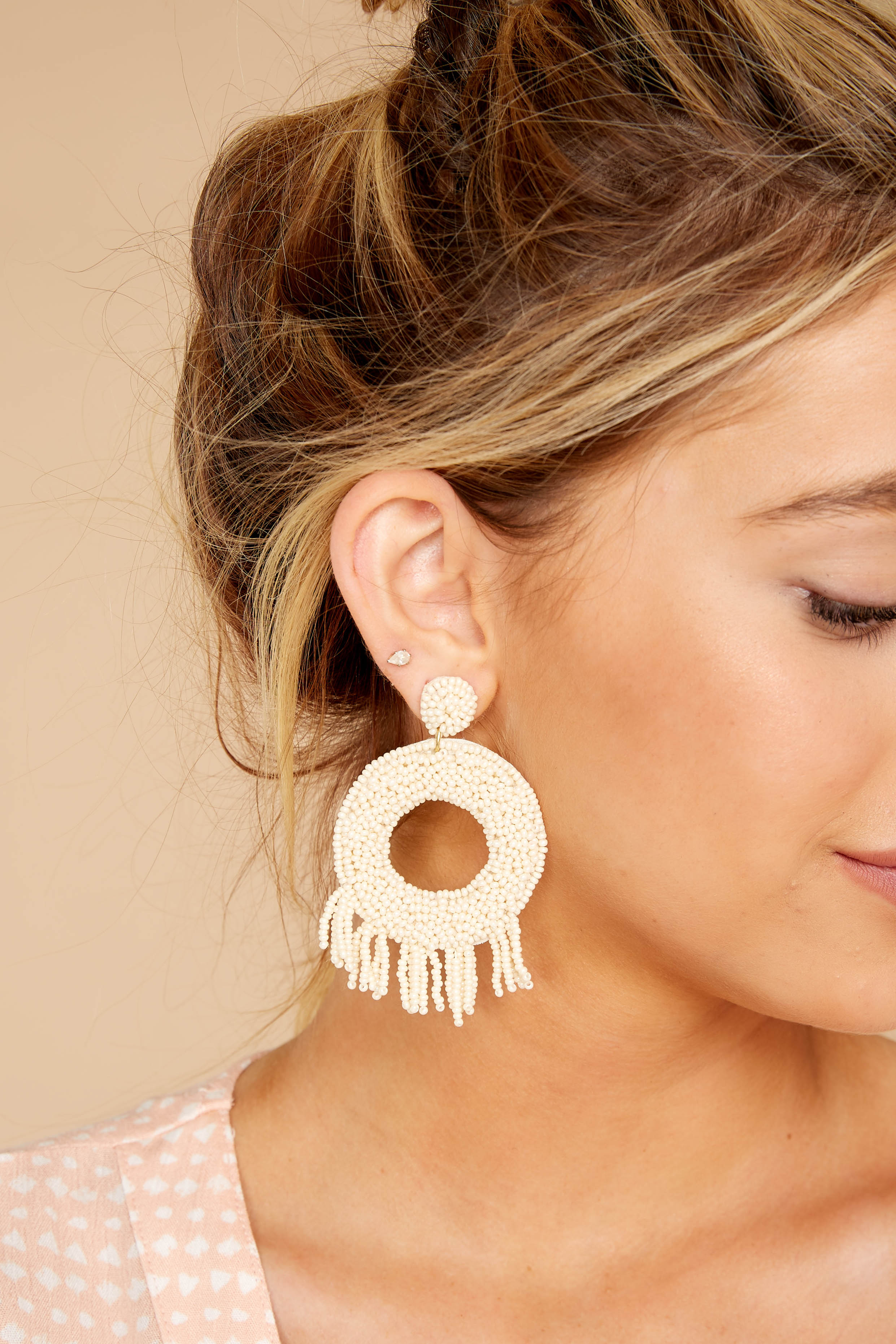 1 Never Enough Ivory Statement Earrings at reddressboutique.com