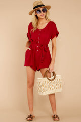 1 Talk Chic To Me Deep Red Romper at reddressboutique.com