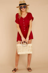 2 Talk Chic To Me Deep Red Romper at reddressboutique.com