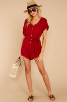 Tie Waist Waistline Dolman Short Sleeves Sleeves Pocketed Belted Button Front Rayon Round Neck Romper With a Sash