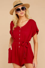4 Talk Chic To Me Deep Red Romper at reddressboutique.com