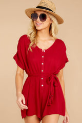 5 Talk Chic To Me Deep Red Romper at reddressboutique.com