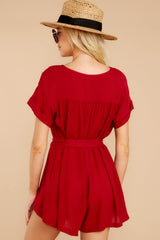 7 Talk Chic To Me Deep Red Romper at reddressboutique.com
