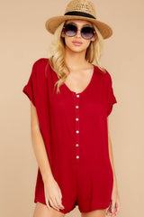 6 Talk Chic To Me Deep Red Romper at reddressboutique.com