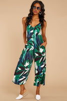 V-neck Rayon Tropical Print Pocketed Jumpsuit/Maxi Dress