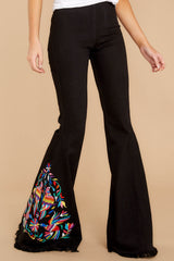 1 Point Of Love Black Embroidered Flare Jeans at reddressboutique.com