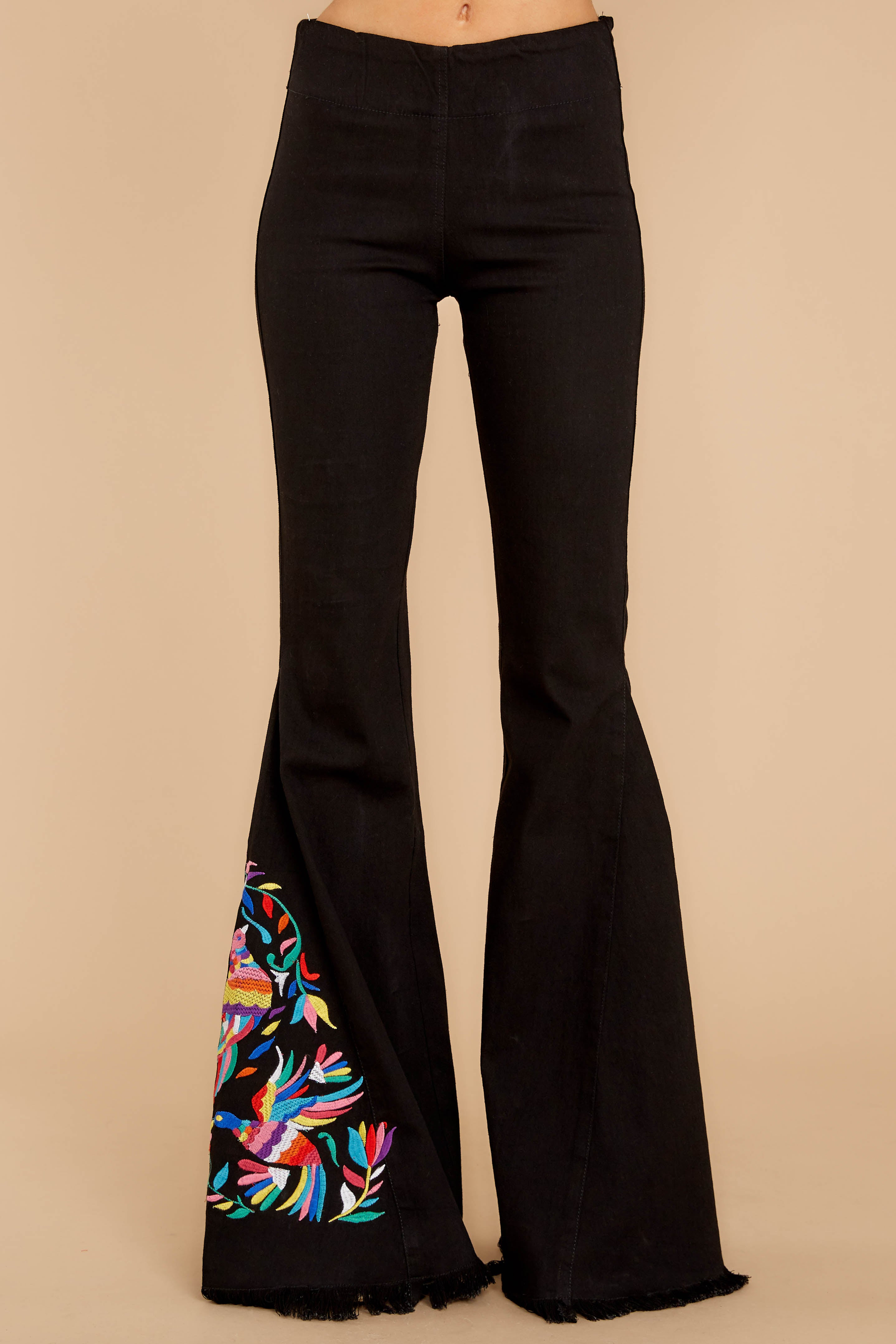 2 Point Of Love Black Embroidered Flare Jeans at reddressboutique.com