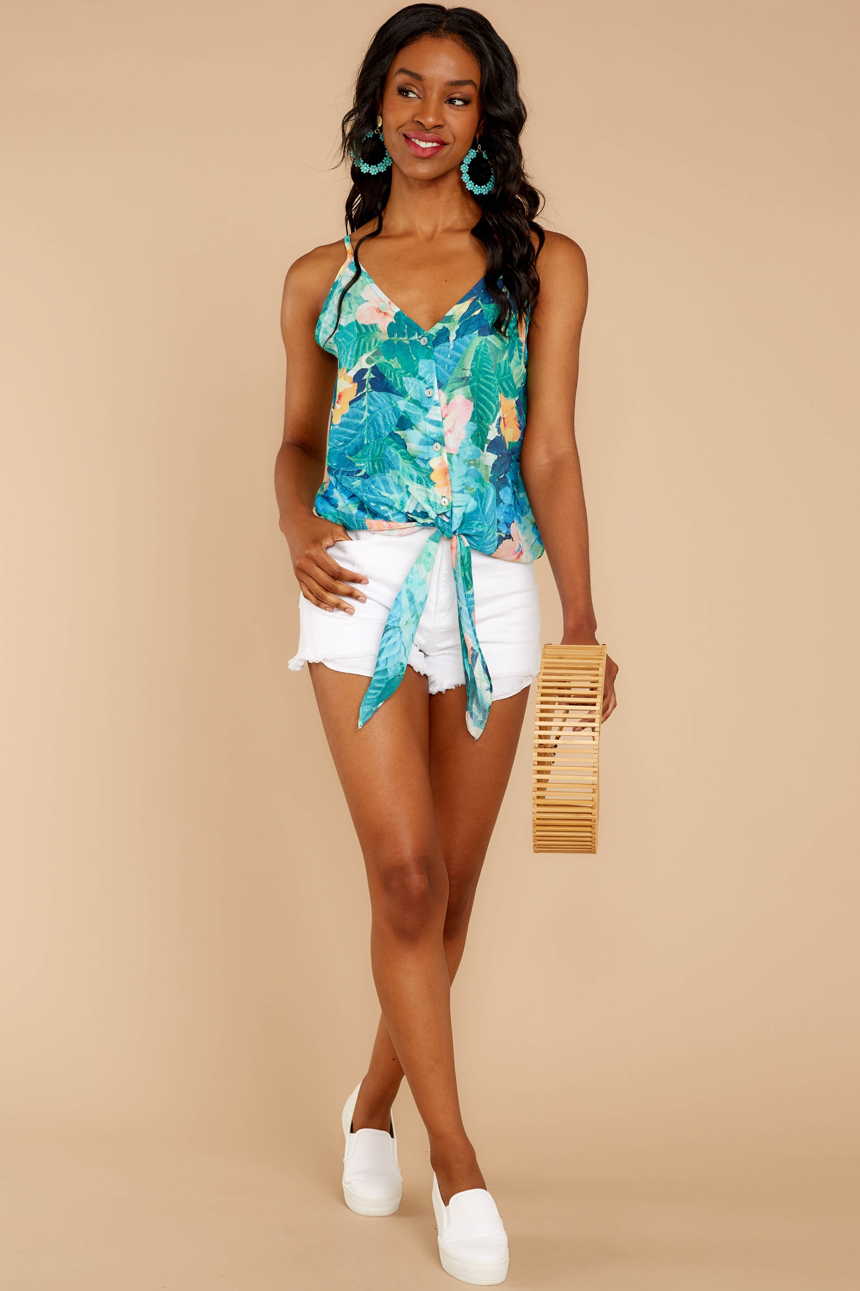 2 Knot For Now Turquoise Floral Print Tie Tank Top at reddressboutique.com
