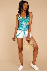 3 Knot For Now Turquoise Floral Print Tie Tank Top at reddressboutique.com