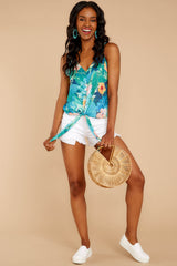 1 Knot For Now Turquoise Floral Print Tie Tank Top at reddressboutique.com