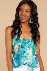 4 Knot For Now Turquoise Floral Print Tie Tank Top at reddressboutique.com