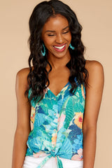 5 Knot For Now Turquoise Floral Print Tie Tank Top at reddressboutique.com