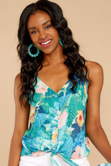 6 Knot For Now Turquoise Floral Print Tie Tank Top at reddressboutique.com