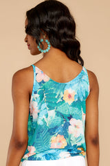 7 Knot For Now Turquoise Floral Print Tie Tank Top at reddressboutique.com
