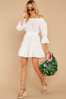 Cotton Elasticized Waistline Long Sleeves Off the Shoulder Shirred Tiered Gathered Short Dress With a Sash