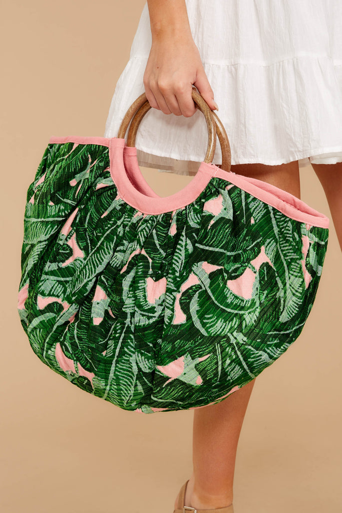 Goodie Bag Pink And Green Palm Print Pouch