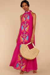 2 Flock To It Pink Embroidered Maxi Dress at reddressboutique.com