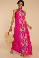 1 Flock To It Pink Embroidered Maxi Dress at reddressboutique.com