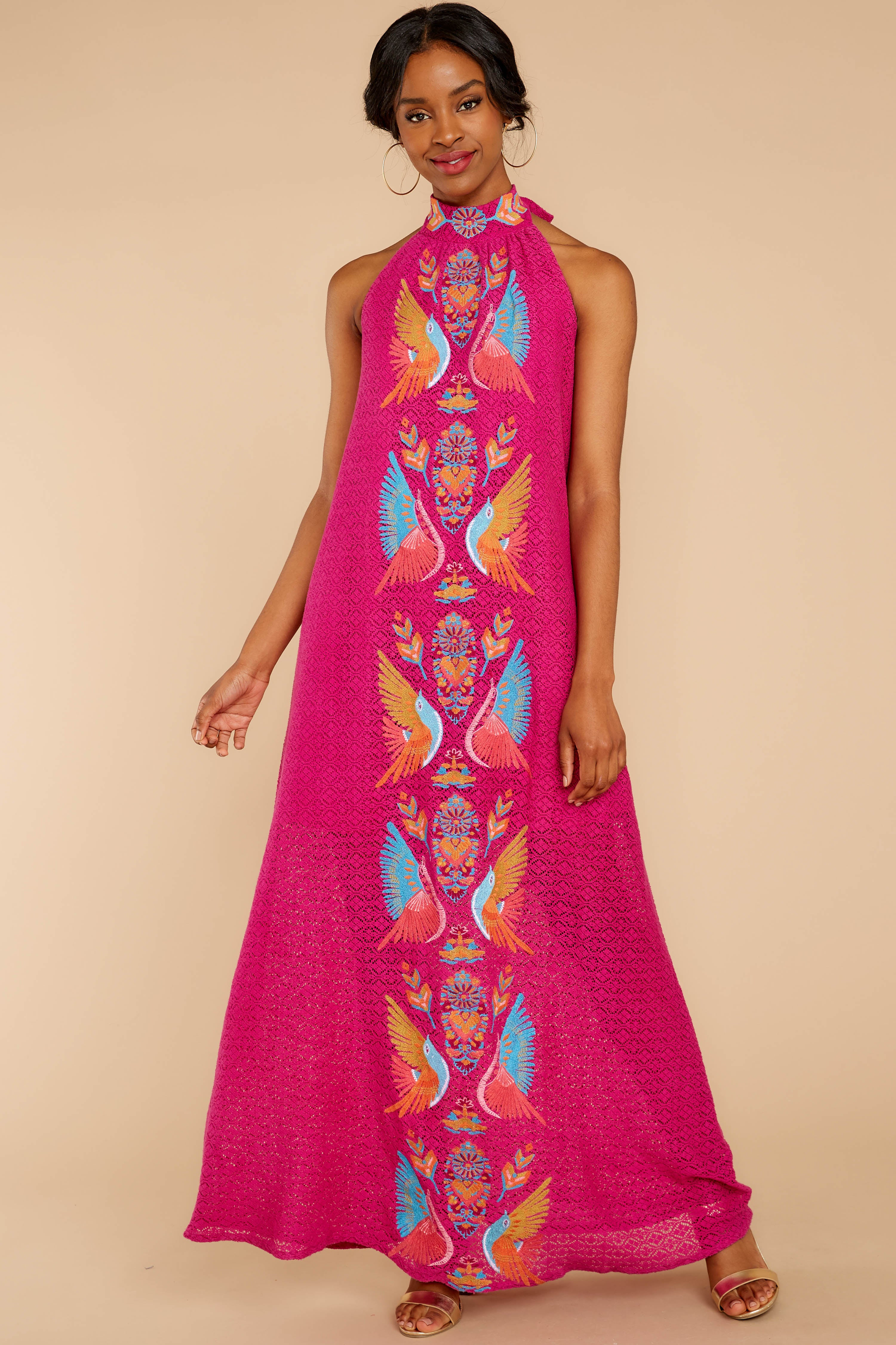 4 Flock To It Pink Embroidered Maxi Dress at reddressboutique.com
